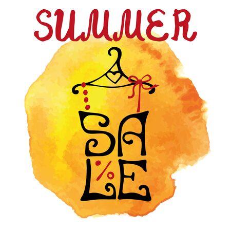 Summer Sale belettering shirt, aquarel geel plons typografische. Stockfoto - 75249576