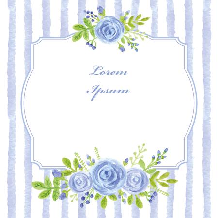 Vintage card.Watercolor blue rose,strips,label 向量圖像