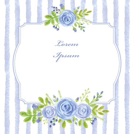 Vintage kaart. Aquarel blauw steeg, stroken, label