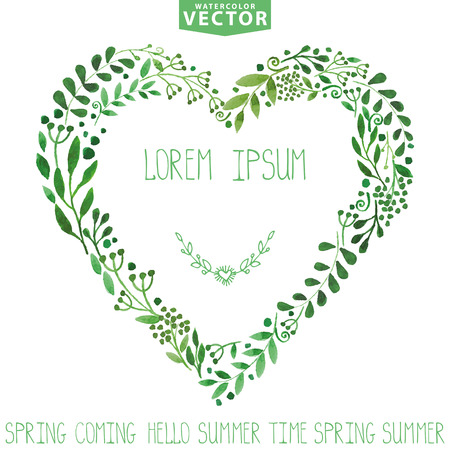 Watercolor .Green branches heart  wreath.Background