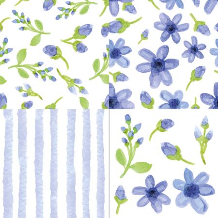 Watercolor blue  flowers,strips seamless pattern cute set.