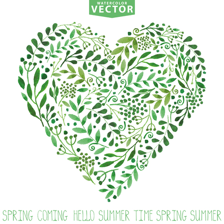Watercolor .Green branches heart composition.Background