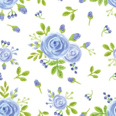 Aquarel blauwe bloemen, knoppen, bessen naadloze patroon. Bloemen decor, groene takken, bladeren Hand schilderij achtergrond. Stockfoto - 75249555