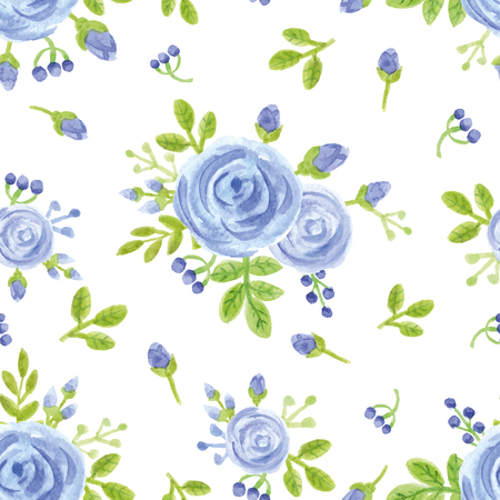 Watercolor  blue flowers,buds,berries  seamless pattern .Floral decor,green branches,leaves  Hand painting background.