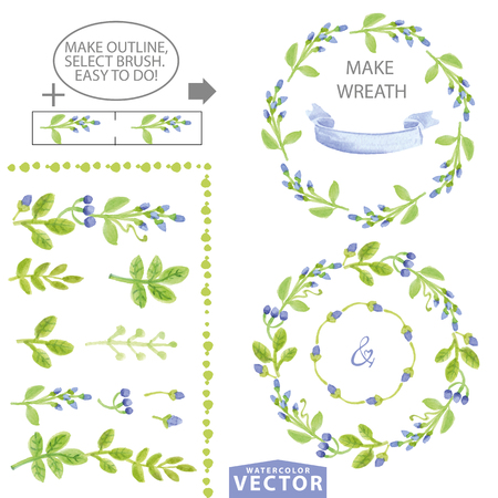 Watercolor blue floral brushes,wreaths and laurels. Hand painted flowers,green leaves,berries,petal decor elements.For design template,invitation.Holiday Vector,wedding,spring,summer set 向量圖像