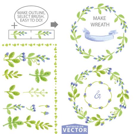 Waterverf blauwe bloemenborstels, kronen en lauweren. Handgeschilderde bloemen, groene bladeren, bessen, petal decor elementen. Voor ontwerpsjabloon, uitnodiging. Vakantie Vector, bruiloft, lente, zomer set