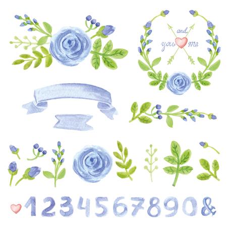 Aquarel blauwe bloemen, groene takken, bladeren, kransen en lauweren met nummers.