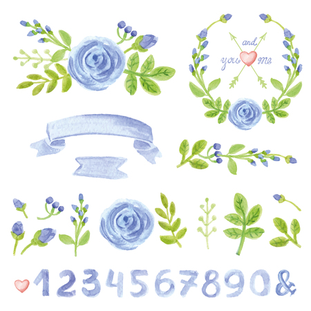 Watercolor blue flowers,green branches,leaves ,wreaths and laurels set with numbers.