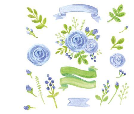 Aquarel blauwe bloemen, groene takken, bladeren, lauweren met linten. Voor ontwerpsjabloon, uitnodigingskaart. Stockfoto - 75390101