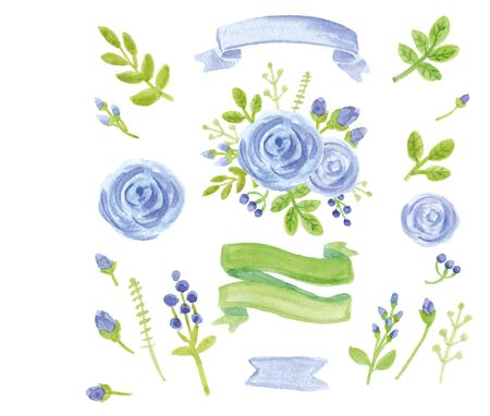 Watercolor blue flowers,green branches,leaves,laurels set with ribbons. For design template,invitation card. 向量圖像