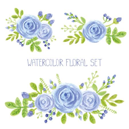 Waterverf blauwe bloemen, groene takken, bladeren boeket set. Handgeschilderde bessen, bloemen, bloemblaadjes, rozen decor elementen. Voor ontwerp sjabloon, invitation. Vakantie Vector, trouwkaart Stockfoto - 75174211