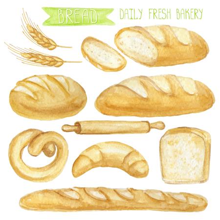 Aquarel brood set. Verschillende soort brood. Dagelijks verse biologische gebakjes producten, brood, brood, croissant en koekjes, stokbrood, pretzel, roll pin. Vintage vector set, geïsoleerd. Voor kaart, poster en banner