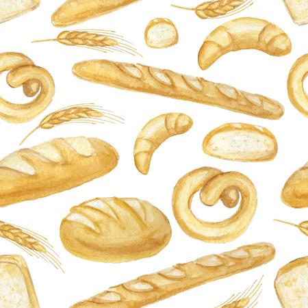 Aquarel brood naadloze patroon. Verschillende soort brood. Verse producten van biologische gebak.