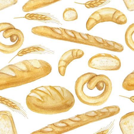 Watercolor Bread seamless pattern.Different type of bread.Fresh organic pastries products.