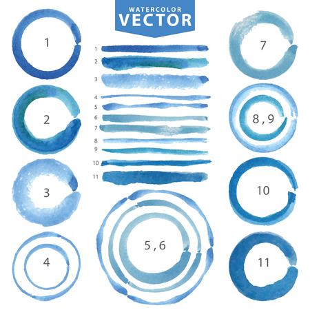 Aquarel hand schilderij vlek cirkels, lijn borstels instellen. Lichtblauw, cyaan, kleur.