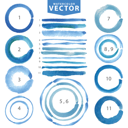 Watercolor hand painting stain circles,line brushes set. Light blue,cyan,color.