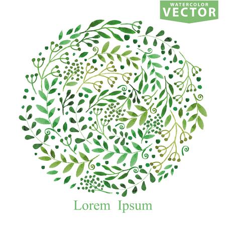 Aquarel groene brunches cirkel samenstelling. Lente, zomer Stock Illustratie