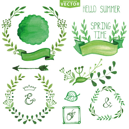 Aquarel Groene brunches lauwerkrans. Lente, zomer decor set Stock Illustratie