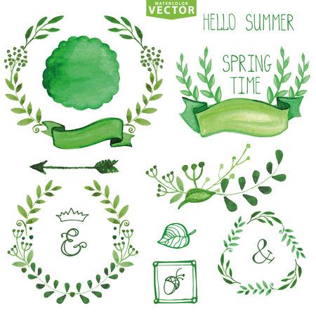 Watercolor Green brunches laurels wreath.Spring,summer decor set 向量圖像
