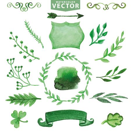 Aquarel groen decor, takken. Bloemen set Stockfoto - 75533471