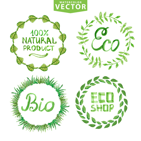 Aquarel lauweren krans set. Eco, bio, natuuretiketten