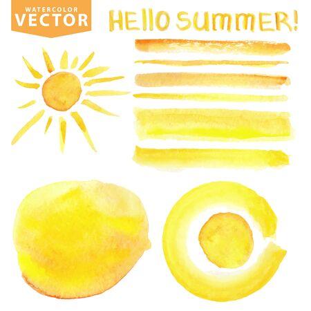 Aquarel vlekken, borstels, zon, belettering. Gele zomer