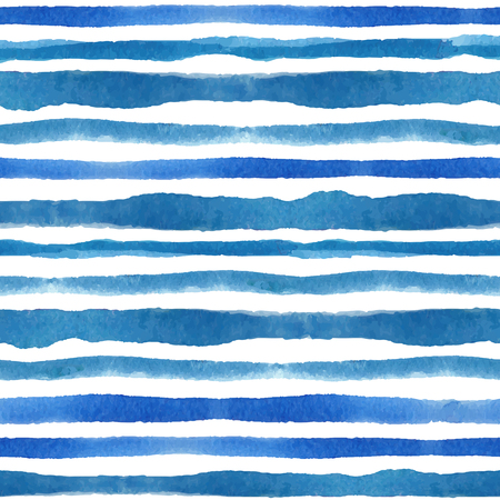 Watercolor strips seamless pattern set.Blue cyan background 向量圖像