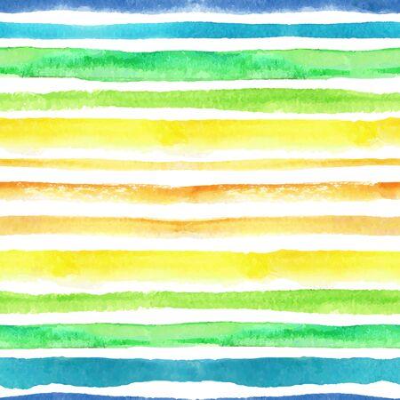 Watercolor strips seamless pattern.Blue ,green,yellow,orange