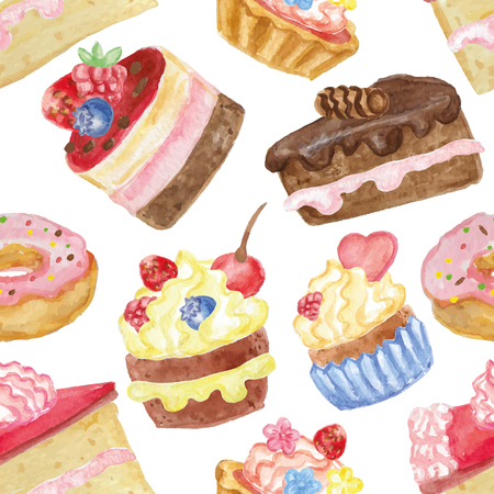 Watercolor sweet cakes seamless pattern