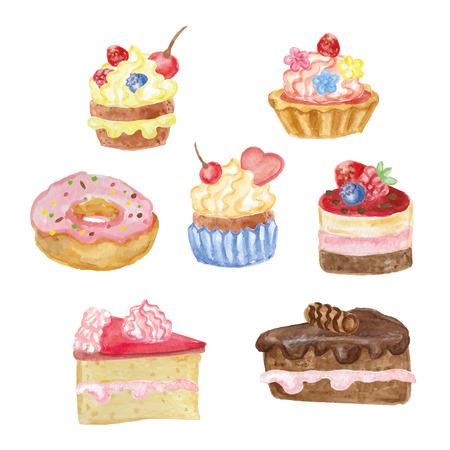Watercolor sweet cakes set 向量圖像