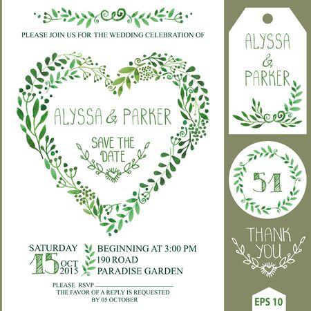 Wedding invitation set.Green watercolor branches heart wreath 向量圖像