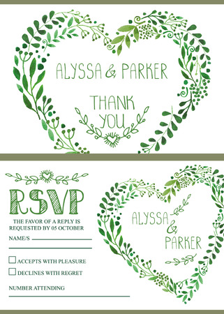 Wedding invitation set.Watercolor green branches heart wreath