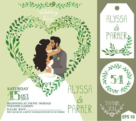 Bruiloft uitnodiging. Groene takken hart, kussen bruid, bruidegom