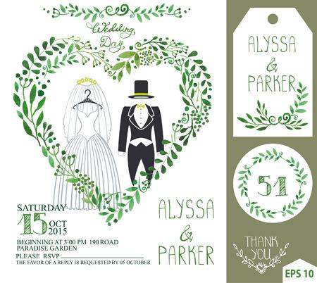 #61466274   Hochzeitseinladungssatz Grüne Niederlassungen Des Aquarells Mit  Hochzeit Kleidet Kleid, Kleid, Mantel Herzformkranz, Lorbeerblätter  Dekorative ...