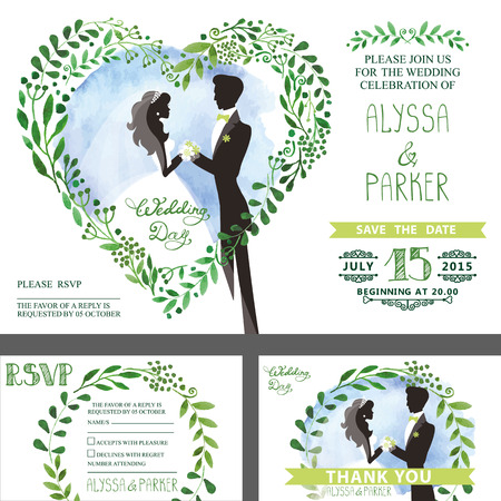 Bruiloft uitnodiging. Groene takken hart, bruid, bruidegom, lucht