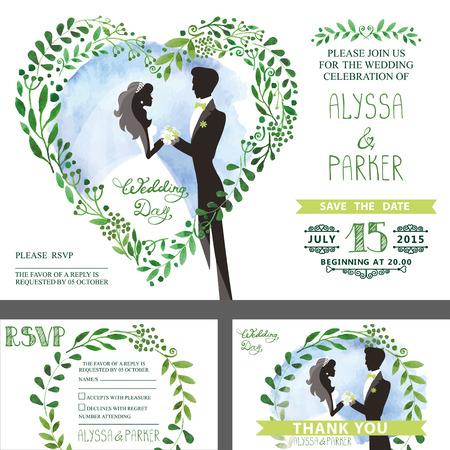 Wedding invitation.Green branches heart ,bride,groom,sky 向量圖像
