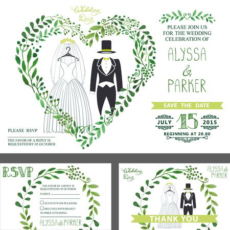 Bruiloft uitnodiging. Groene takken hart, Trouwkleding