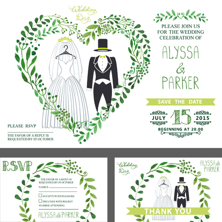 Wedding invitation.Green branches heart ,Wedding clothes