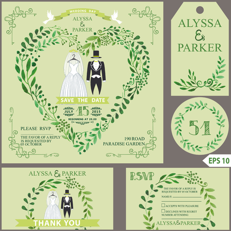 Huwelijksuitnodiging. Groen takkenhart, huwelijkskleren