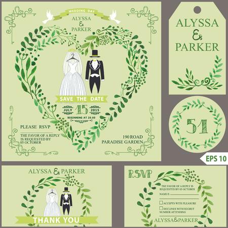 Wedding invitation.Green branches heart, wedding clothes
