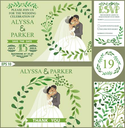 Wedding invitation.Green branches wreath, kissing bride,groom 向量圖像