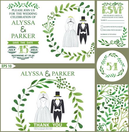 Bruiloft uitnodiging. Groene takken kroon, trouwkleding