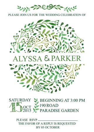 Wedding invitation.Watercolor green brunches circle