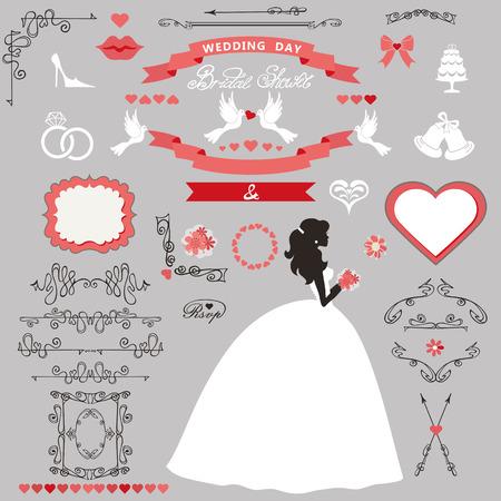 Bruiloft bruids douche decor set. Uitnodigingskaart van de bruid