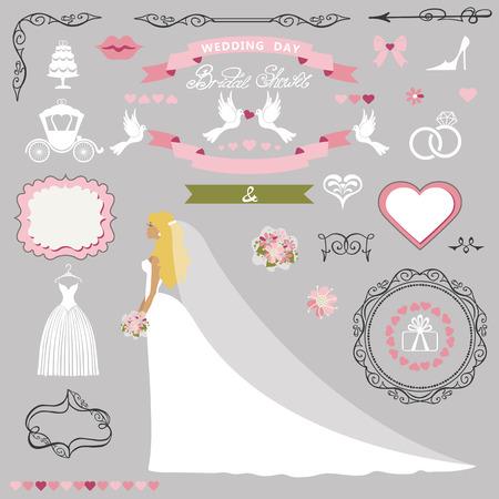 Bruiloft bruids douche decor set. Bruid uitnodiging kaart kit Stockfoto - 76801853