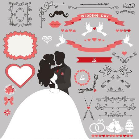Wedding invitation decoration set. 向量圖像