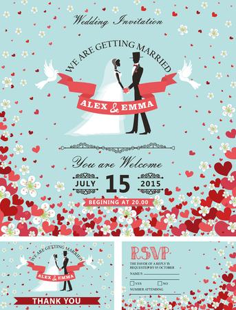 Bruiloft uitnodiging set. Bruid, bruidegom, vallende harten, bloemen Stock Illustratie