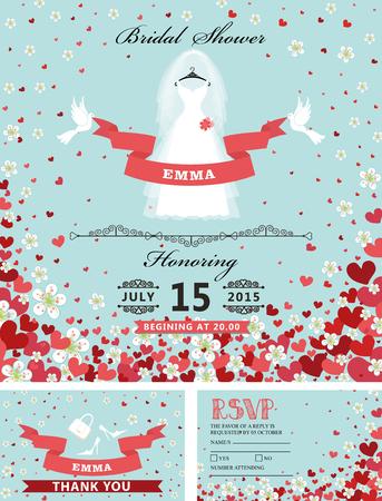 Uitnodigingen bruids vrijgezellenfeest. Bruidjurk, vallende harten, flo Stockfoto - 77437858