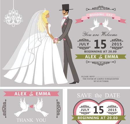 Bruiloft uitnodiging set.Retro Cartoon bruid en bruidegom
