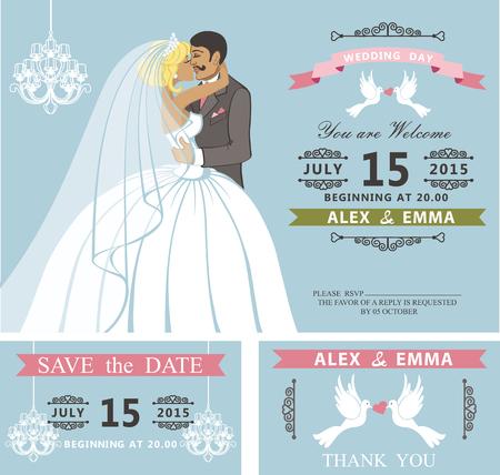 Retro kussende cartoonbruid en bruidegomhuwelijksuitnodigingsreeks.